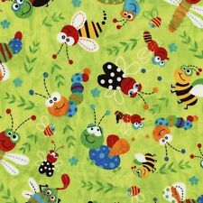Novelty Fabrics from Timeless Treasures - Lime Tossed Bugs C4849