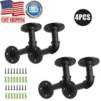 4Pcs Industrial Wall Mounted Pipe Shelf Bracket Storage Hanging Holder 13x8.5cm