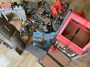 Konvolut Playmobil Ritterburg 3666 Ersatzteile Fachwerkhaus Zugbrücke