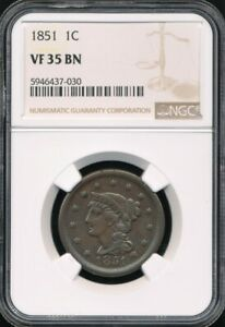1851 Braided Hair Large Cent NGC VF 35 BN *Chocolate Brown!*