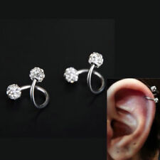 Crystal Stainless Steel Twist Ear Helix Cartilage Body Piercing Earring Stud