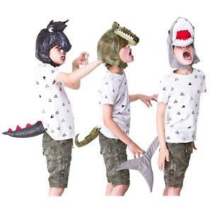 Kids Head & Tail Set Fancy Dress Animal Costume Shark Dragon Crocodile 3-6 Years
