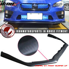 Fits 15-19 Subaru WRX STI OE Style Front Bumper Lip Spoiler Carbon Look - ABS