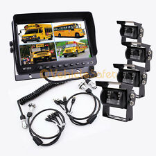 """4AV TRAILER CABLE 9"""" QUAD MONITOR BACKUP SYSTEM SAFETY REAR VIEW CAMERAS"""