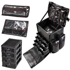 AW® 4 Wheels Rolling PU Makeup Case Artist Travel Cosmetic Trolley Organizer Bag