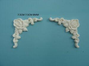 Decorative rose corners x 2 resin applique furniture mouldings onlay Z4