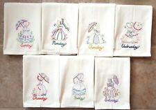 UMBRELLA GIRL DAYS OF THE WEEK EMBROIDERED FLOUR SACK DISH TOWELS
