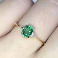 1.00 Ct Colombian Emerald & Diamond Ring In 14k Yellow gold Over Emerald Ring