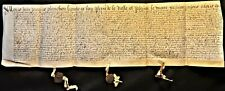 ANTIQUE MANUSCRIPT ON A VERY LARGE PARCHMENT WITH 2 MOUNTED WAX SEALS - 1625