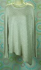 New Women Long Sleeves Asymmetrical Sparkle Cream Beige Top Blouse L Large NWT