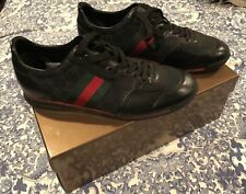 Nearly New Men's GUCCI Black Leather/Nylon Sneakers Size 8.5G