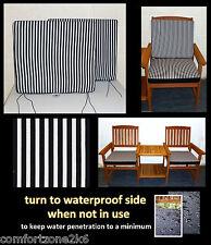 ZIPPY  BLACK & WHITE DINING CHAIR CUSHION SEAT PAD - 50 X 44 - GARDEN FURNITURE