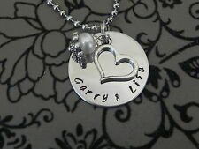 Personalised  Hand Stamped Any names or Wording Pendant 25mm