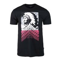 Men's Geronimo Indian Chief Print Graphic Crew Neck Short Sleeve T-shirt Black