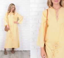Vintage 70s Yellow Maxi Dres Embroidered Floral Flower Metallic Gold Large L