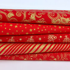 Bundle 5 festive fat quarters Christmas red & gold mix 100% cotton fabric    26
