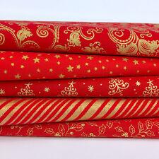 Bundle 5 festive fat quarters Christmas red & gold mix 100% cotton fabric    26