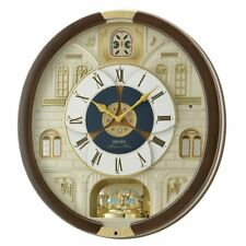 Seiko Round Melody In Motion 17.5H in. Wall Clock with 16 Swarovski Crystals,