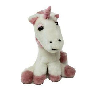 "7"" VINTAGE DAN DEE BABY WHITE & PINK UNICORN SITTING STUFFED ANIMAL PLUSH TOY"