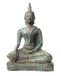 "Thai Bronze Buddha Statue Seated Sitting Antique Meditation Sculpture 6.5"""
