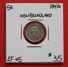 1947c Newfoundland Silver Five Cent Coin C436 - $35 EF-45