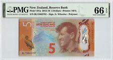 New Zealand 2015 P-191a PMG Gem UNC 66 EPQ 5 Dollars