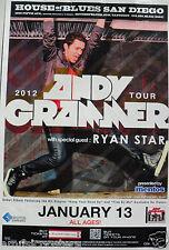 ANDY GRAMMER / RYAN STAR 2012 SAN DIEGO CONCERT POSTER - Pop / Soft Rock Music