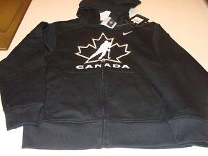 2012 Team Canada Age 14/16 L Full Zip TC Logo Hoodie Hooded Black Sweatshirt