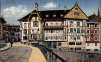 Bad Tölz Bayern alte Ansichtskarte 1934 gelaufen Straßenpartie am Marienstift
