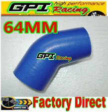 """Silicone 45 Degree Bend 2.5"""" 64mm Joiner Elbow Radiator Hose Silicon Pipe BLUE"""