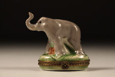 Limoges France Elefant Porcelain Box Pillendose Handbemalt J.Dumont ca. 1940