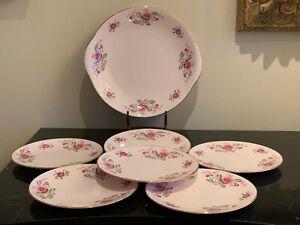 Vintage Tuscan Bone China Pink Floral 6 Dessert or Bread Plates 1 Handled Plate