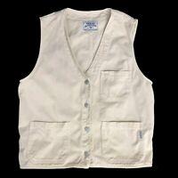 Vintage Guess Jeans Khaki Vest Mens Size Medium Button Front Sleeveless