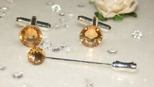 Light Gold Resin & 10mm S/P Cufflinks & 36mm Cravat/Tie/Scarf/Corsage Pin