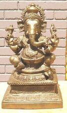 Brass Ganesh Ganesha Deity Hindu God Statue  Blessed On Lotus flower  with altar