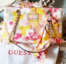 GUESS Shannon Large Shopper Pink Floral Coated Canvas Hand Bag with SCARF BNWT