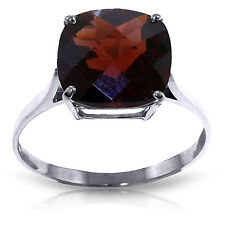 4.5 ct Platinum Plated 925 Sterling Silver Ring Natural Checkerboard Cut Garnet
