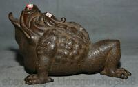"""8,4 """"Rare Vieille Chine Rouge Cuivre Feng Shui Crapaud Sculpture de bénédiction"""