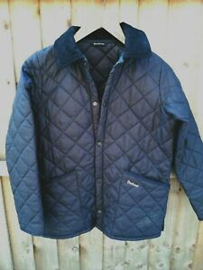 BARBOUR LIDDESDALE MENS BLUE COLLARED QUILTED JACKET SIZE SMALL