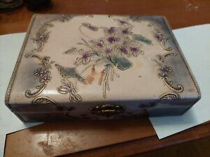 Vintage Plastic Floral Design Jewelry Box