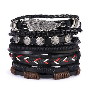Men Black Leather Leaf Bracelet Surfer Wide Multi Row Layer Stack Wristband Wrap