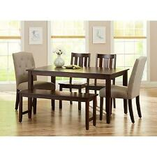 6 Piece Dining Set Beige Upholstered Fabric and Wood Chairs Bench Espresso Table