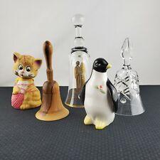 Vintage Ringing Bells Glass Crystal Wooden Porcelain Penguin Ceramic Cat