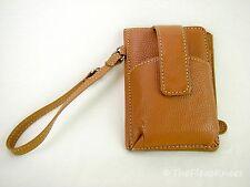 Brown Pebbled Genuine Leather Phone Wristlet Wallet
