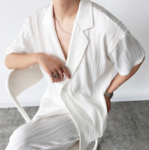 Men's Fashion Summer Lapel Short Sleeve Ruched Loose Shirt Youth Casual Blouses