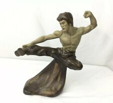 Kung Fu Martial Arts Bruce Lee Flying Kick Ceramic Statue - 9 Inches Tall