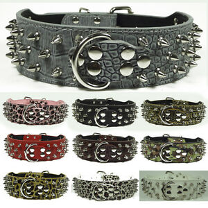 NEW Unisex Spiked Studded Leather Large Dog Collar spikes studs Size S M L XL