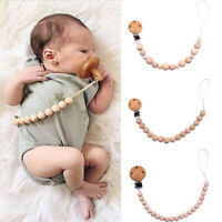 Care Wood Beaded Soother  Newborn Chain Clip  Soother Teether Infant Pacifier
