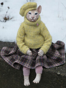 Cat Marie Sphynx Collectible doll Designer Exclusive Handmade. Luxury Gift. NEW