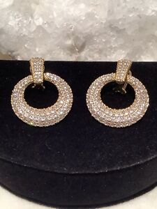 Judith Ripka 14k Gold Clad 925 Silver Pave' CZ Door Knocker Earrings Omega Backs